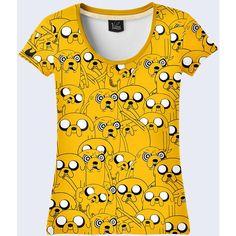 Cartoon Adventure Time Jake Women T-Shirt. ($25) ❤ liked on Polyvore