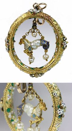 A Renaissance style gold, enamel and pearl pendant, probably 19th century, the oval shaped outer hoop engraved and enamelled all over with white, green and red enamel, suspended with a baroque pearl, enamel and gold mythical beast pendant. 5cm x 4.5cm