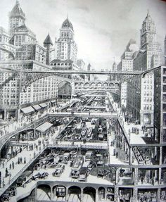 "An Impression of a Multi-Level Transit City by W.H. Corbett, 1913 drawing ""City of the Future""."