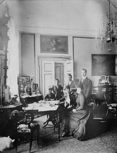 """Tsarevich Nikolai Alexandrovich Romanov of Russia (Tsar Nicholas ll),Prince George of Wales,Prince Albert Victor of Wales.Queen Louise of Denmark,Alexandra Princess of Wales and Empress Marie Feodorovna of Russia at Fredensborg in Denmark in 1889.  """"AL"""""""