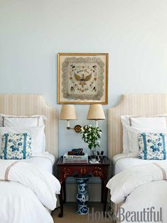 Northampton Stripe headboards from Hinson & Company. Design: Alex Hitz.