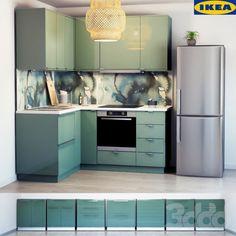 Tall Kitchen Cabinets, Kitchen Ikea, Kitchen Units, Oak Cabinets, Green Kitchen Inspiration, Blue Kitchen Interior, Best Ikea, Kitchen Models, Apartment Kitchen