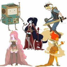 Steampunk BMO, Princess BubbleGum, Marceline, Finn, and Flame Princess.