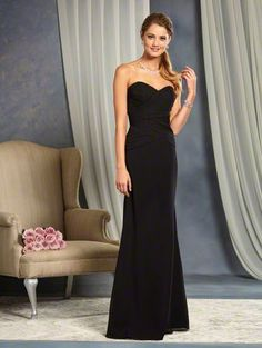 Alfred Angelo Style 7381L: long floor length bridesmaid dress with sweetheart neckline and dropped waistline