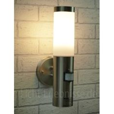 Litecraft stainless steel monaco outdoor wall light with pir stainless steel outdoor garden wall light with 120 degree motion sensor ip44 bt1003up pir workwithnaturefo