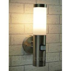 Motion Sensor Outdoor Wall Lights: Stainless Steel Outdoor Garden Wall Light with 120 Degree Motion Sensor  IP44 BT1003UP-Pir:,Lighting