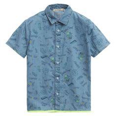 Billybandit - Boys Blue Chambray Cotton Comic Print Shirt | Childrensalon