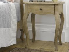 Our lovely Mimi bedside table goes beautifully with our French beds. Each one is carved by hand and made out of sustainably sourced weathered oak.