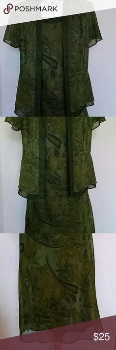 Studio I Maxi Petite Dress This dress has a fabulous army green and black pattern that resembles paisley.  It has a see through bottom that  draws the eye down. It can be worn without the jacket. Studio I  Dresses Maxi
