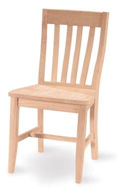 Unfinished Cafe Slat Back Chair - Set of 2