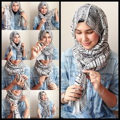 I have collected hijab styles step by step tutorial. It consists of steps required to wear beautiful hijab styles. These steps for hijab styles are easy. Islamic Fashion, Muslim Fashion, Hijab Fashion, Simple Hijab Tutorial, Hijab Style Tutorial, Pashmina Hijab Tutorial, Stylish Hijab, Hijab Chic, Beau Hijab