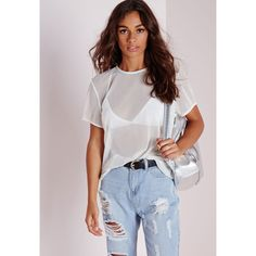 Missguided Mesh T Shirt White ($20) ❤ liked on Polyvore featuring tops, t-shirts, white, mesh top, punk t shirts, white tee, white t shirts and white mesh t shirt