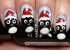 Santa Penguin Nails