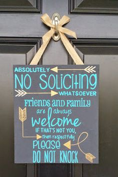 No Soliciting, Wood, Sign, 12x12, Home, Decor, Friends and Family, Welcome by ItsAllAboutTheSigns on Etsy https://www.etsy.com/listing/229807660/no-soliciting-wood-sign-12x12-home-decor