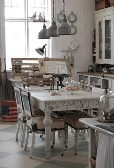 Little French Kitchen. Pastry Domes. Love The Unique Decal On The End Of The Table, A Vintage Measuring Tape.