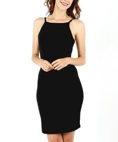 Loving this Black Spaghetti-Strap Bodycon Dress on #zulily! #zulilyfinds