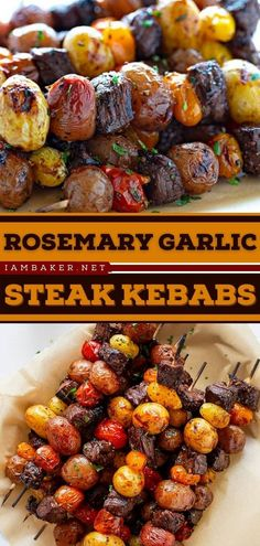 Looking for an easy summer grilling recipe? The Rosemary Garlic Steak Kebab starts with a tender steak, marinated tomatoes, and potatoes grilled to perfection. This easy main dish is one of the best summer dinner recipes to try! Kebab Recipes, Beef Recipes, Easy Recipes, Cooking Recipes, Summer Grilling Recipes, Summer Recipes, Grilling Ideas, Juicy Steak, Tender Steak