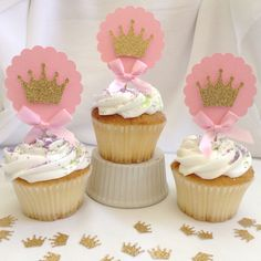 Pink and Gold Princess Cupcake Toppers by CraftySistersPlus1