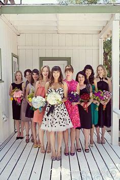 Love the look of mismatched Bridesmaid dresses