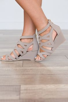 Zip Back Cutout Wedges - Taupe - Magnolia Boutique - Shoes - Schuhe Converse Wedding Shoes, Wedge Wedding Shoes, Wedding Wedges, Bridal Shoes, Boho Boutique, Boutique Clothing, Wedge Shoes, Low Wedge Heels, Slippers