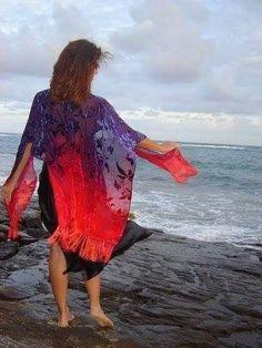 Silk velvet burnout ruana caftan handdyed ombré made to order by akaisilks on Etsy