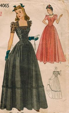 Enchantingly pretty long skirted 1940s evening dresses (Simplicity 4065).