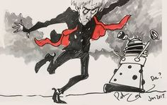 Peter's self portrait with Dalek. A thank you to a fan. Personal message edited off.