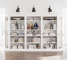 Designed like built-in cabinetry, our Aubrey Collection boasts handsome details like molding, plinth bases, and frame-and-panel fronts on doors and drawers. Beadboard paneling and a Dutch White water-based finish attest to its traditional American… Pottery Barn Bookcase, Reclaimed Wood Bookcase, Salvaged Doors, Bookcase Styling, Bookshelf Design, Bookcase Makeover, Target, Etagere Bookcase, Bookshelves