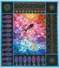 """""""swimming in a sea of buttons"""" art quilt"""