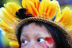 Indigenous head adornment, Brazil.