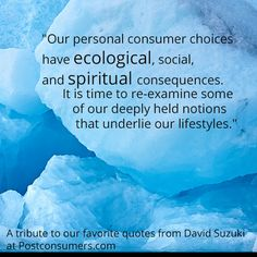 """""""Our personal consumer choices have ecological, social, and spiritual consequences. Earth Day Quotes, David Suzuki, Consumerism, Ecology, Favorite Quotes, Choices, Spirituality, Mother Earth, Life"""