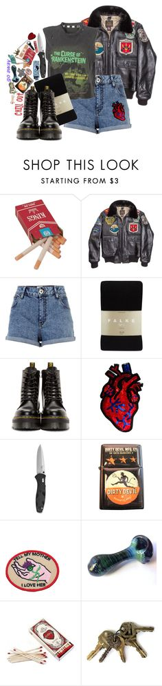 """""""Runnin' From The Cops"""" by bipolarbabe ❤ liked on Polyvore featuring River Island, Falke, Dr. Martens and Sourpuss"""