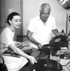 Audrey Hepburn and make-up artist Alberto de Rossi during the production of The Nun's Story, 1958.