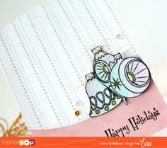 Hello! Today I am on the MarkerPOP Blog sharing a clean and retro Holiday Card using the new Retro Ornaments by Avery Elle , Lawn Fawn St...