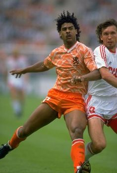 Dutch midfielder Frank Rijkaard enjoyed a glittering career at Ajax and AC Milan, where he collected a glut of domestic and European titles. Here he is in action at the 1988 European Championships, which his Netherlands team duly won, too. Great mustache.