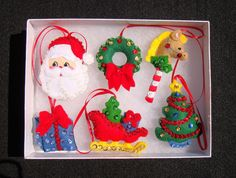 Set of 6 Handmade Sequined Felt Christmas Ornaments