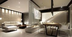 Room Divider Idea - This glass wall supports a TV, an art piece, and has a fireplace in between
