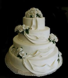 classic wedding cake with roses and drapes by wesh artslab & Irrera1910
