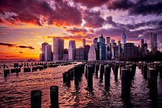 DIGITAL: NYC Manhattan Sunset by vsmarcuslewis on @creativemarket