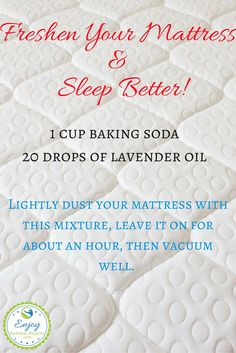 Freshen your mattress and sleep better tonight! All you need is baking soda and… Baking Soda Face, Baking Soda Shampoo, Baking Soda Uses, Freshen Mattress, Mattress Cleaning, Baking Soda On Mattress, Cleaning Solutions, Cleaning Hacks, Deep Cleaning
