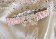 VINTAGE RIBBONWORK RIBBON ROSES LACE PINK BLUE SATIN WEDDING GARTER HANDMADE #Handmade #Wedding