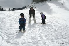 Five positions for teaching your young kids to ski… #4 Parent goes ski-less