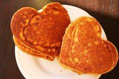 Heart-shaped sweet potato pancakes Heart Shaped Pancakes, Sweet Potato Pancakes, Because I Love You, Heart Shapes, Valentines, Breakfast, Food, Valentine's Day Diy, Morning Coffee