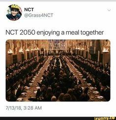 NCT 2050 enjoying a meal together – popular memes Bts Memes, Funny Kpop Memes, Lucas Nct, Btob, Nct 127, K Pop, Nct Life, Entertainment, K Idols