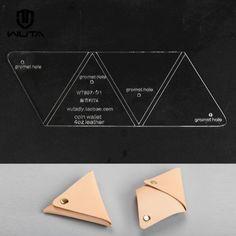 Wuta Triangle Coin Purse Leather Template Acrylic Pattern DIY Tool 897 for sale online Coin Purse Pattern, Leather Wallet Pattern, Purse Patterns, Leather Pouch, Leather Tooling, Leather Purses, Leather Jewelry, Leather Bags, Leather Diy Crafts