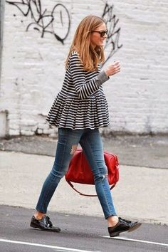 Olivia Palermo in stripes with a pop of color #streetstyle