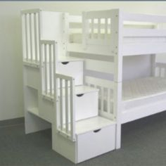 Features:  -Converts to 2 single beds.  -Child-safe.  -Bunk bed model has been tested by an independent laboratory.  -Solid Brazilian pine - no particle board or mud.  -Built-in Stairway instead of la