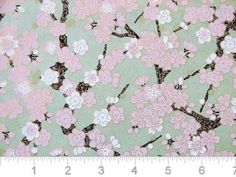 Pink spring blossoms on green yuzen washi.
