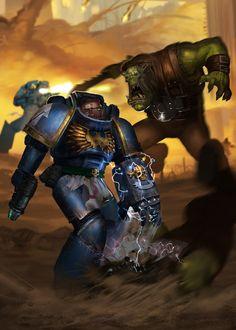 Ультра превозмогает орков,Wh Other,Warhammer 40000,warhammer40000, warhammer40k, warhammer 40k, ваха, сорокотысячник,фэндомы