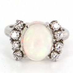 Vintage 14 Karat White Gold Opal Doublet Diamond Cocktail Ring Estate Jewelry
